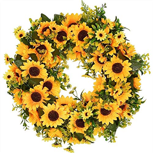 PDGJG Artificial Sunflower Summer Wreath-16 Inch Decorative Fake Flower Wreath with Yellow Sunflower and Green Leaves for Front Door I
