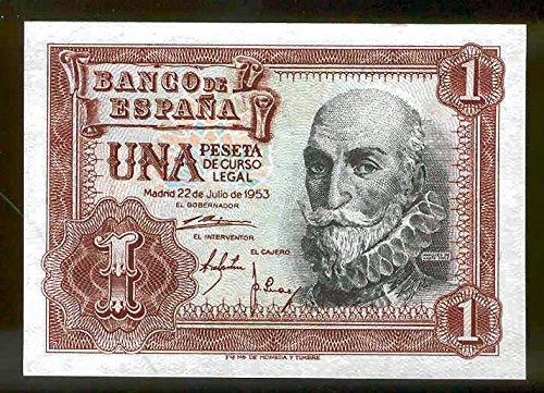 Banco de España billete 1 Peseta 1953 Miguel de Cervantes