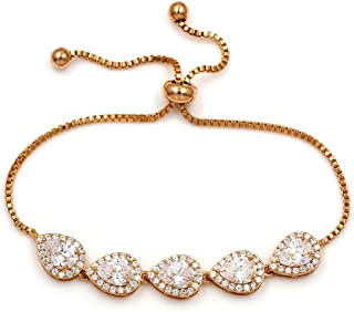 Cubic Zirconia CZ Wedding Bridal Pear Cut Adjustable Teardrop Chain Bracelet for Women Lady