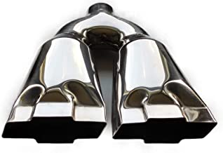 Exhaust Tip 2.50 In Inlet 10.00 Inch Wide 4.75 outlet Dual Bowtie Polished Stainless Steel Mirror Polished WDCB212BOWTIESS Wesdon Exhaust Tip