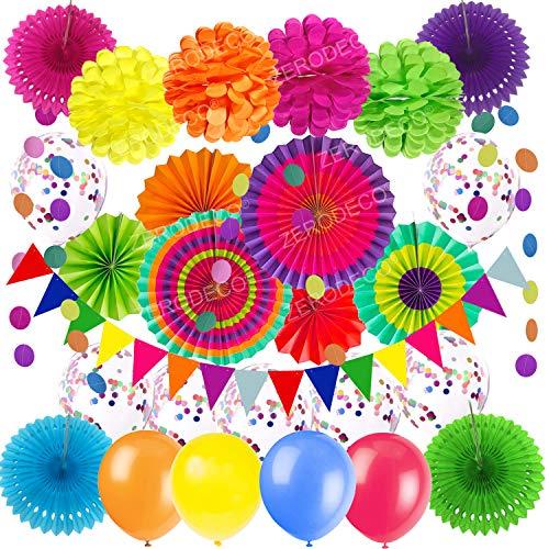 ZERODECO Party Dekoration, Mehrfarbig Konfetti Ballons Papier Pompoms Aufhängen Fächer Dreieckige Wimpel und hängende Girlande Fiesta Partyzubehör Sets für Mexiko Cinco De Mayo Geburtstag Party