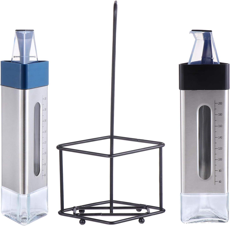 DOITOOL Tabletop Oil trust and Vinegar Cruet St Bottle with Long-awaited Glass Rack