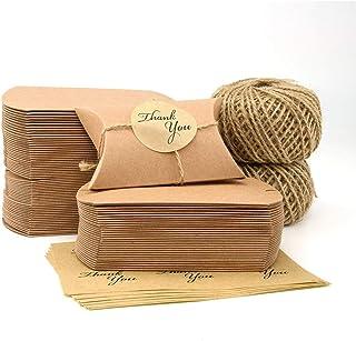 VEESUN Boites Cadeaux Kraft, 120 Pièces Papier Cadeau Mini Boite de Bonbons Emballages de Cadeaux avec Autocollant pour An...