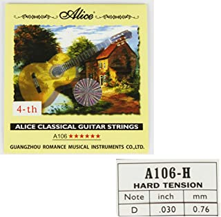 Alice 10pcs A106 Nylon Core Silver Plated Fourth D 4-th Single Classical Guitar Strings (.030 inch/0.76mm)