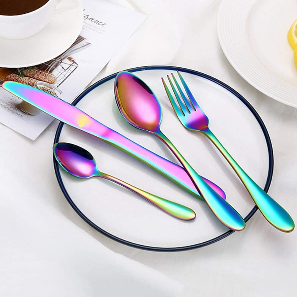 YORKING 16pcs Colorful Iridescent Fork Spoon Stainless Cutlery Set for Dinner Tableware Spoons Forks Cutlery Black