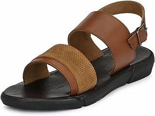 GUAVA Men Tan Anti-Sweat Leather Sandals