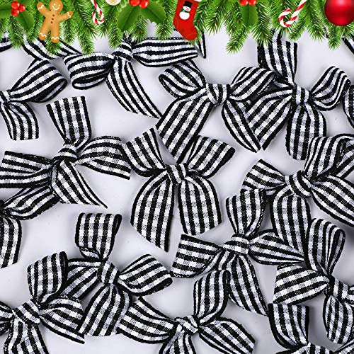 80 Piezas Mini Lazos de Cinta Artesanal de Guinga de Navidad Lazo de Cinta a Cuadros Apliques de Flores Decoración de Lazo a Cuadros DIY para Coser Scrapbooking Boda Decoración de Envoltura
