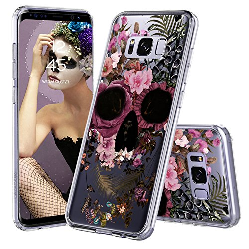 Galaxy S8 Case, Galaxy S8 Clear Case, MOSNOVO Floral Skull Flower Clear Design Printed Transparent Plastic Hard Back Case with TPU Bumper Protective Case Cover for Samsung Galaxy S8 (2017)