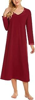 Ekouaer Women's Nightgown Short Sleeve Button-Down V Neck Sleepwear S-XXL