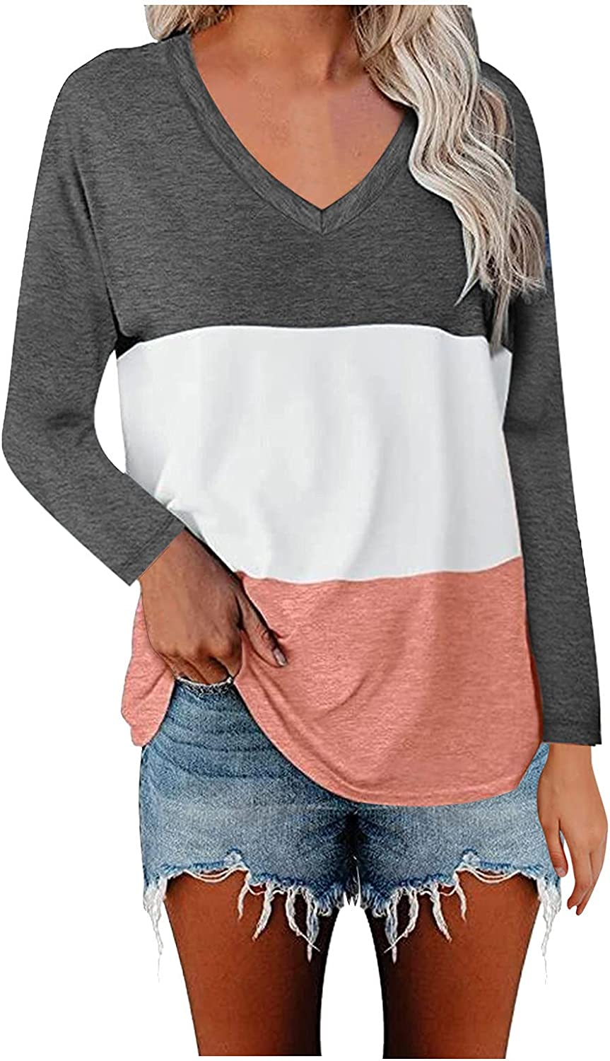 WYBAXZ Womens Loose Tunic Tops V Neck Long Sleeve T Shirts Casual Color Block Tee Blouses T Shirts Striped Tee Tops