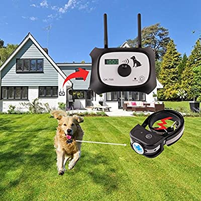 OKPET Wireless Dog Fence Pet Containment System, Safe Effective Beep/Shock Dog Fence, Dual Antenna Stronger and More Stable Signal 100 Levels, Rechargeable Waterproof Collar (1 Collar Kit + 14 Flags)