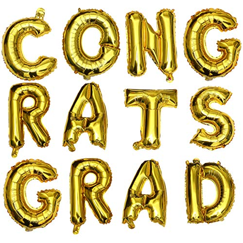 VALICLUD Chic Gold Graduation Party Aluminiumfolie Luftballons Set GLÜCKWÜNSCHE Grad Alphabet Luftballons Layout Angebot Prom Dekorationsset