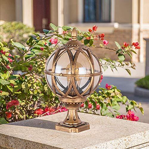 NZDY European Victoria Villa Garden Pedestal Lamp Gate Glass Linterna Columna Lámpara Luz de Césped Exterior Antióxido Aluminio Impermeable Post Pilar Lámpara de Mesa Lámparas de Iluminación Led E27