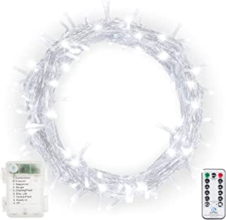 Fairy String Lights, Ollny 100 LED 33ft Battery Powered Waterproof Outdoor Christmas LED Starry String Light with Remote Control Timer 8 Modes for Bedroom Wedding Party Patio Home Indoor Cool White