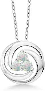 0.75 Ct Round Cabochon White Simulated Opal 925 Silver Circle Round Pendant With Chain