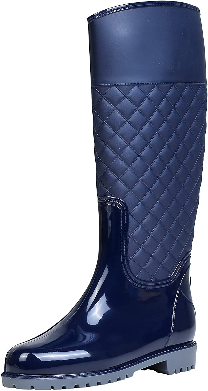 zpllsbratos Women's Waterproof Knee High Rain Boot Outdoor Garden Shoes Rubber Wellies Footwear with Buckle