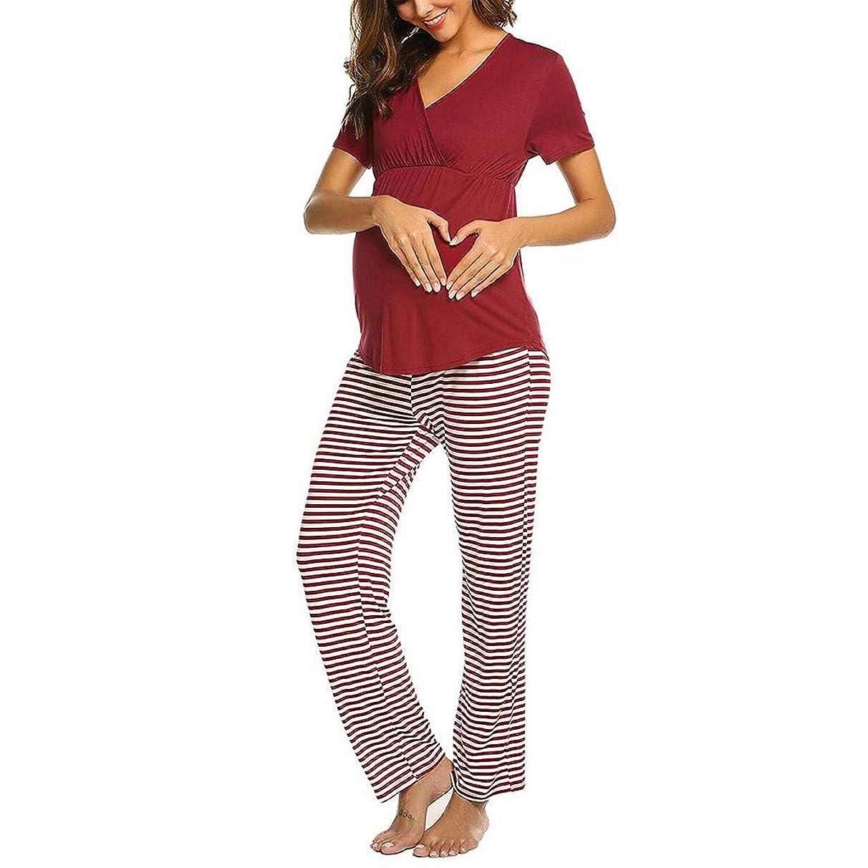 Toponly Pregnancy Pajamas Sets,Women Maternity V-Neck Nursing Breastfeeding Baby T-Shirt Tops+Stripe Pants Comfy