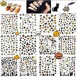 12PCS Halloween Nail Art Stickers Decalcomanie, Decalcomanie autoadesive per unghie 3D Decorazioni fai da te, Decorazioni per unghie zucca/ragnatela HOINCO/strega/pipistrello/fantasma/teschio