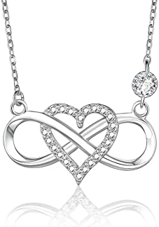 BlingGem Collares para Mujer Infinito Plata 925 Chapado Oro Rosa Zirconia Cúbica Redondo Infinity Corazón Colgante Joyería...