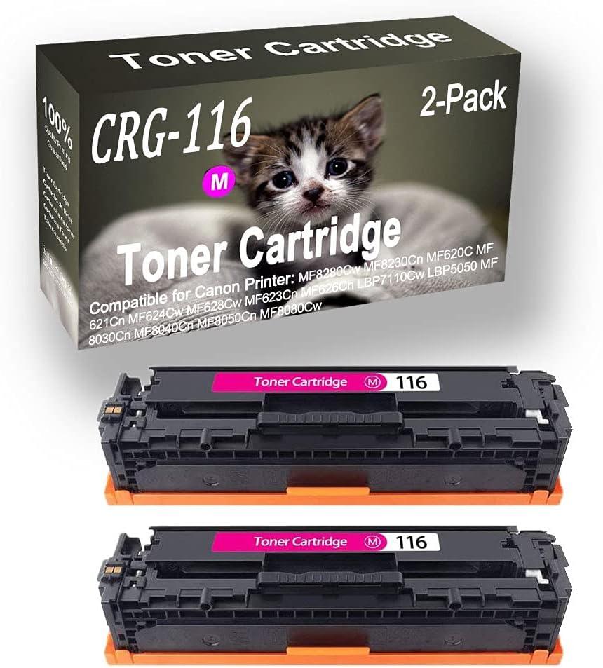 2-Pack (Magenta) Compatible Color imageCLASS MF8280Cw MF8230Cn MF620C Laser Toner Cartridge (High Capacity) Replacement for Canon CRG116 (CRG-116) Printer Toner Cartridge
