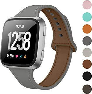 DAIKA Leather Bands Compatible with Fitbit Versa 2 / Versa/Versa Lite for Women Men Slim Soft Replacement Strap for Fitbit Versa Smart Watch