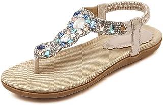 Huicai Sandalias con Correa Plana para Caminar de Verano con Cuentas Bohemio Flip-Flop Zapatos cómodos con Diamantes de im...