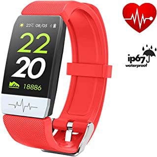 FitONE by J Q1S ECG+PPG Heart Rate FitnessTracker Smart Bracelet Blood Pressure with Sleep Sport Waterproof Smart Watch for Men Women