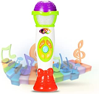 Acekid Microphone Toys for Kids, Voice Changing and Recording Microphone, Karaoke Microphone with Colorful Lights for Toddlers and Kids (Green)