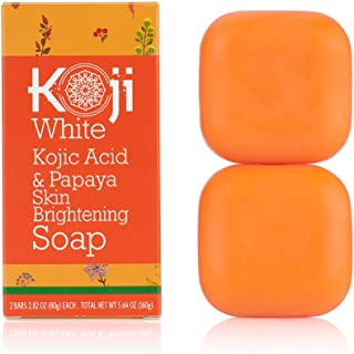 Koji White Kojic Acid & Papaya Skin Brightening Soap (2.82 oz / 2 Bars) – with..