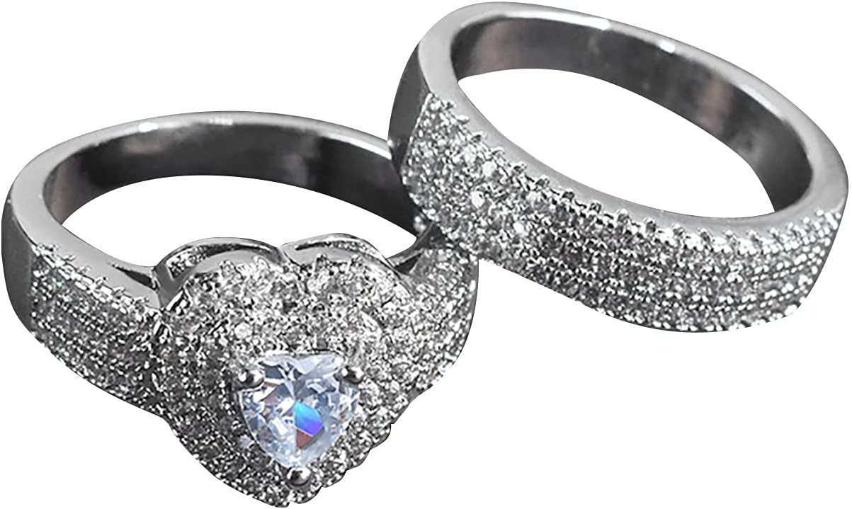 2Pcs Heart-shaped Zircon Ring, Couple Ring Sets Party Wedding Engagement Ring Bridal Ring Double Layer Bands (10#)