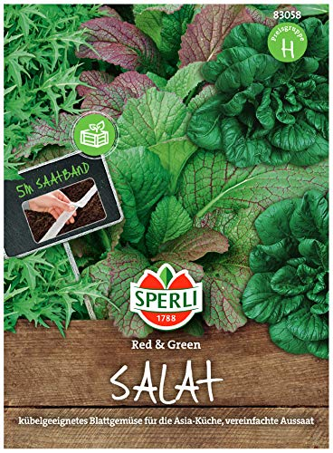 Sperli Premium Asia Salat | Red & Green Saatband | 3 Sorten | Asia Salat Samen | winterhart ganzjährig
