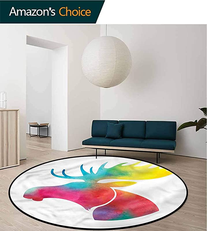 RUGSMAT Moose Round Rug Kid Carpet Watercolor Style Animal Motif Pattern Floor Seat Pad Home Decorative Indoor Round 31
