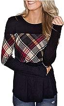Ros1ock Women's Long Sleeve Pullover O-Neck Plaid Print Splicing Tops Ruffle T-Shirt Dress