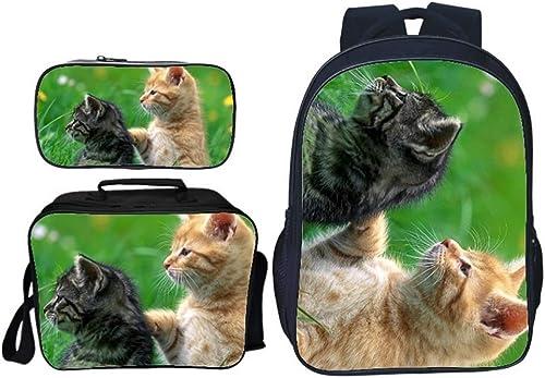 HTT& Sch Katze Canvas-Rucksack für Schüler, 3 Stück Beil ig Schulbüchertasche, Tagesrucksack + Lunchpaket Schultertaschen + Federm chen zum Jungen mädchen,D