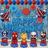 ZYM Set de 75 Decoraciones de Fiesta de cumpleaños de superhéroe, Suministros para Fiestas de niños Decoración de Globos de superhéroe para niños Favor de Fiesta temática