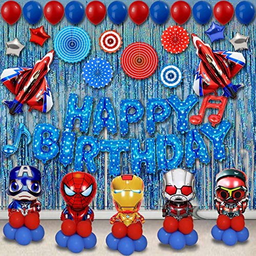 ZYM 75er Pack Super Hero Geburtstagsfeier Dekorationen Set, Kinder Party liefert Superhelden Luftballons Dekoration für Jungen Thema Party Favor