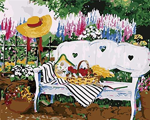 IXGMI schilderen op nummers, bank, tuin, olieverfschilderij voor volwassenen en kinderen, met borstels en schilderen, 16 x 20 inch (zonder frame)