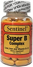 Sentinel Premium Super B Complex with Liver, Iron and Vitamin B-12, Supports Energy & Immune System Boosting, Made in USA, 100 Coated Tablets