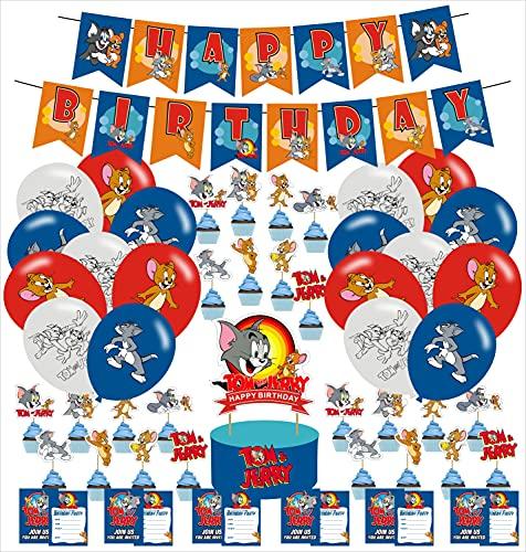 Tom und Jerry Geburtstagsparty-Dekorationen, Tom und Jerry Partyzubehör inklusive Geburtstagsbanner, Luftballons, Cupcake-Topper, Kuchendekoration für Kinder