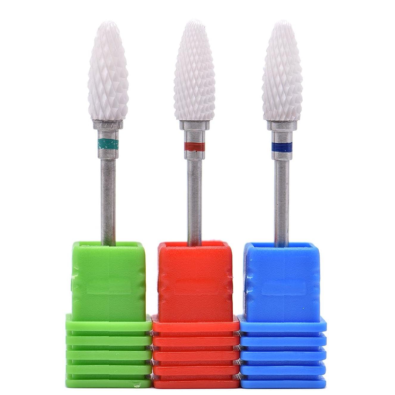 加害者散髪支配するOral Dentistry ネイルアート ドリルビット 長い 研磨ヘッド ネイル グラインド ヘッド 爪 磨き 研磨 研削 セラミック 全3色 (レッドF(微研削)+グリーンC(粗研削)+ブルーM(中仕上げ))