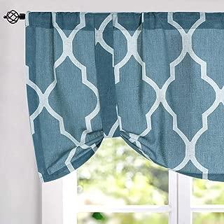 jinchan Moroccan Tile Print Paisley Curtain Valance for Bedroom Curtain - Quatrefoil Flax Linen Blend Textured Geometry Lattice Rod Pocket Window Treatment Set for Living Room 1 Panel 18