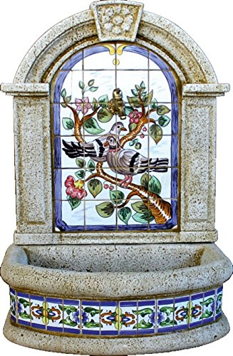 DEGARDEN Fuente Pared Gerbera Palomas hormigón-Piedra y Azulejos Exterior jardín 70X45X100cm.