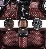 Muchkey Auto Tapis de Sol pour Peugeot 308 CC 2009-2016 en Cuir Imperméables Tapis de Voiture Accessoires Auto Café