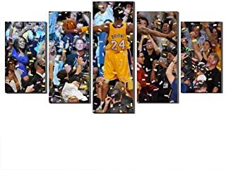 WALKKING WAYS Wall Art Paintings for Wall Decorations,Kobe Bryant Lakers Victory Canvas and Posters 5 Panels Pictures Wall Decor Prints (No Frame,12X18inch-2P 12X24inch-2P 12X30inch-1P)