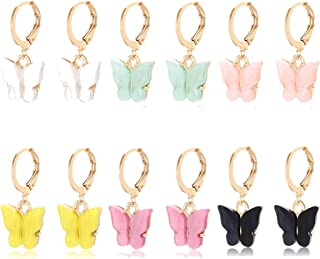 PHALIN 6 Pairs Butterfly Earrings for Women Cute Butterfly Hoop Earrings Gold Huggie Earring for Girls Animal Insect Jewel...