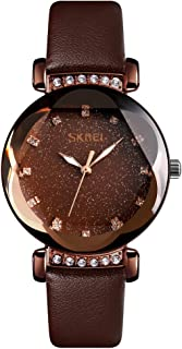 TONSHEN Fashion Luxury Stainless Steel Watch for Women and Girl Polygonal Crystal Business Casual Dress Elegant Watches with Leather Band Multiple Colour (Dark Brown)
