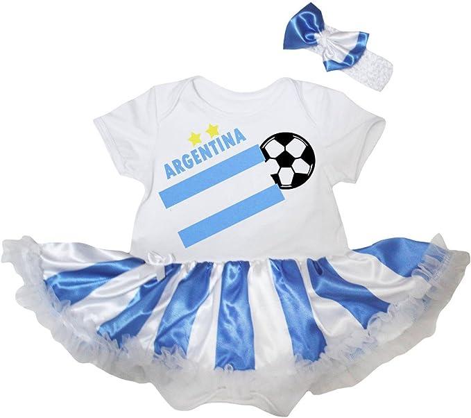 Argentina Football Blue Cotton Baby Romper Bodysuit Jumpsuit Set NB-18M