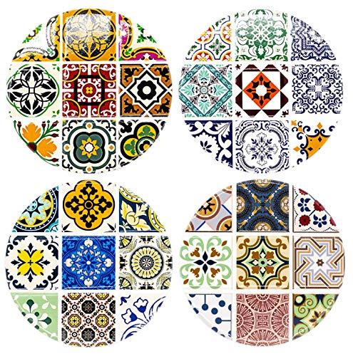 BOHORIA® Premium Design Keramik Untersetzer (4er Set) – Für Getränke, Tee-Gläser, Blumen-Topf, Teller auf ihrem Tisch aus Holz, Glas, Marmor oder Stein (rund | 10.3cm) (Ceuta Ceramic)