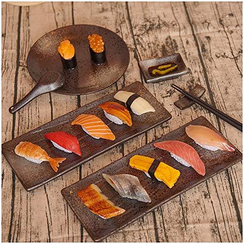 LUCKFY Gefälschte Lebensmittel Simulation Sushi Modell Realistische Naturgetreue Künstliche Sushi Stütze für Haus Haus Küche Hochzeit Dekoration Fotografie - Satz von 12
