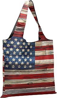 CaTaKu Gunge USA Flag Sac de courses pliable et réutilisable en nylon antidéchirure imperméable respectueux de l'environne...